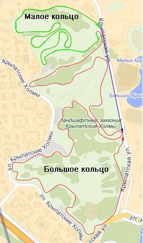 Схема велотрассы в Крылатском
